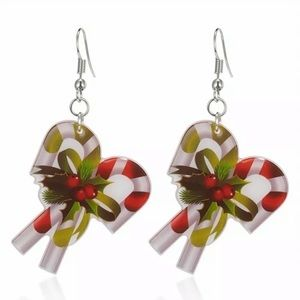 Candy Cane Acrylic Earrings